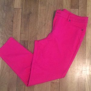 Hot pink stretch pants!